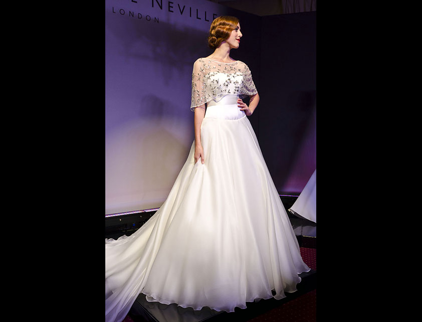 Catwalk Runways | Nostalgia 2012 Designer Bridal Gowns | Bacall with Vintage Cape by Suzanne Neville