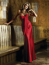 Red Messina Evening Wear Dress By Suzanne Neville