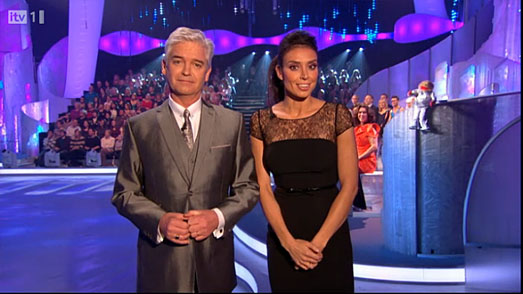Christine Bleakley in black dress by Suzanne Neville on Dancing on Ice 2012