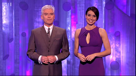 Dancing on Ice 2012 - Christine Bleaky in designer purple dress by Suzanne Neville