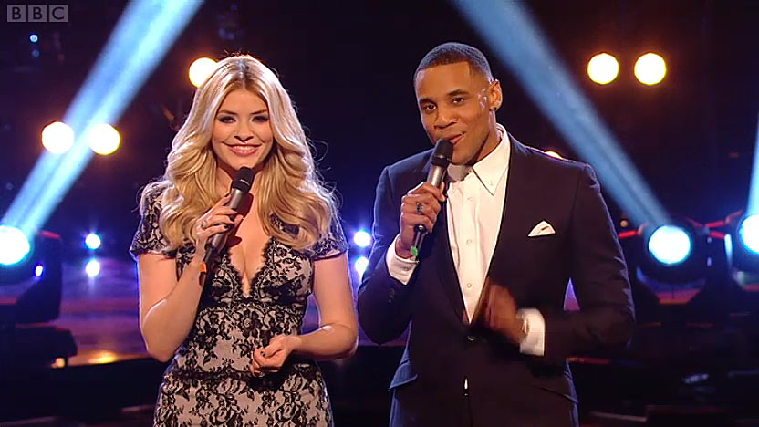 Holly Willoughby in black lace dress by Suzanne Neville on BBC The Voice