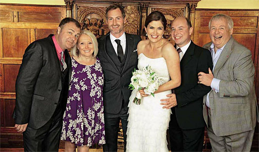 Hello Magazine - Amanda Lamb in wedding dress by Suzanne Neville