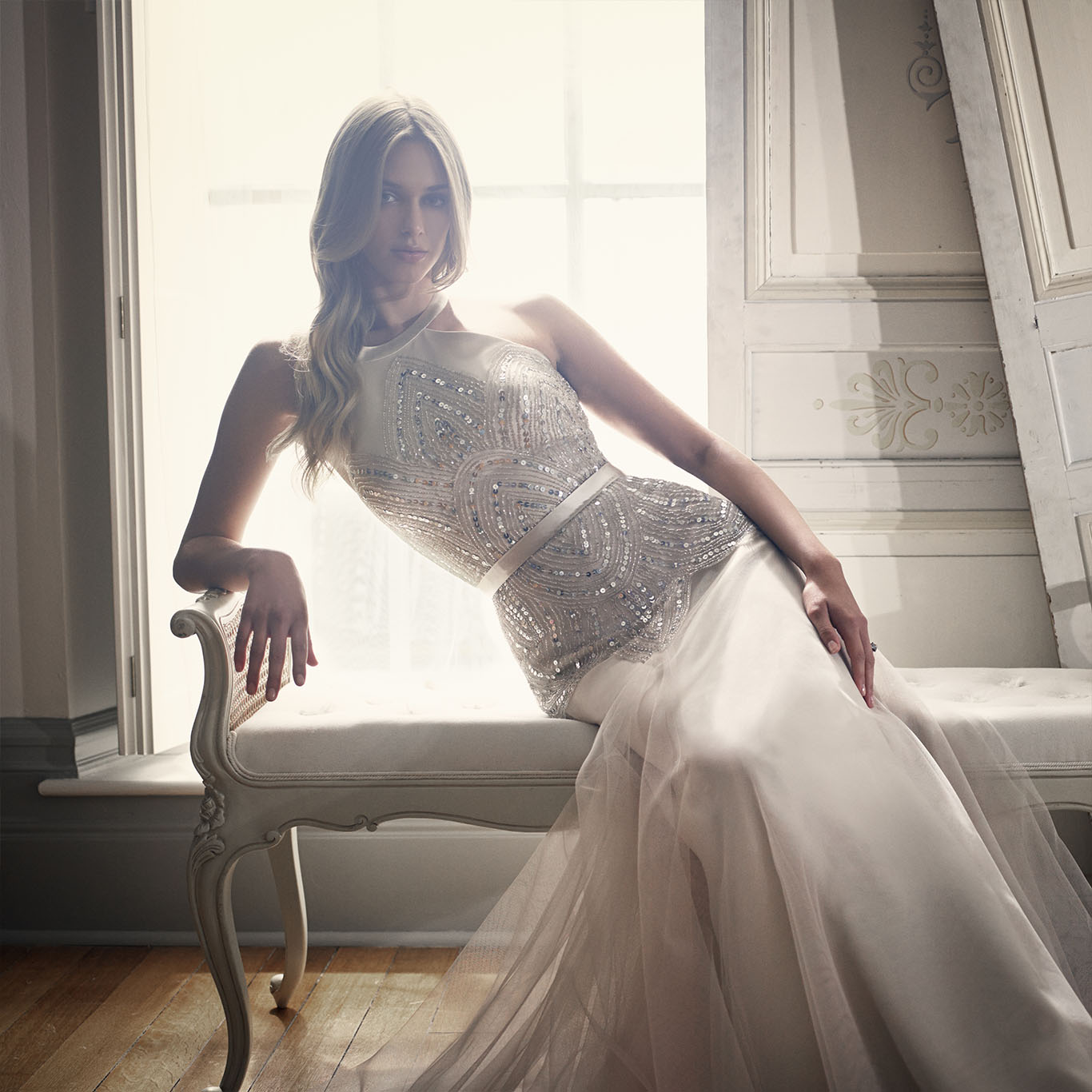 Deco | champagne wedding dress by Suzanne Neville