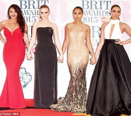 BRITAwards2015-redcarpetfashion-celebrities-LittleMix-JesyNelson-reddesignerdress-SuzanneNeville2