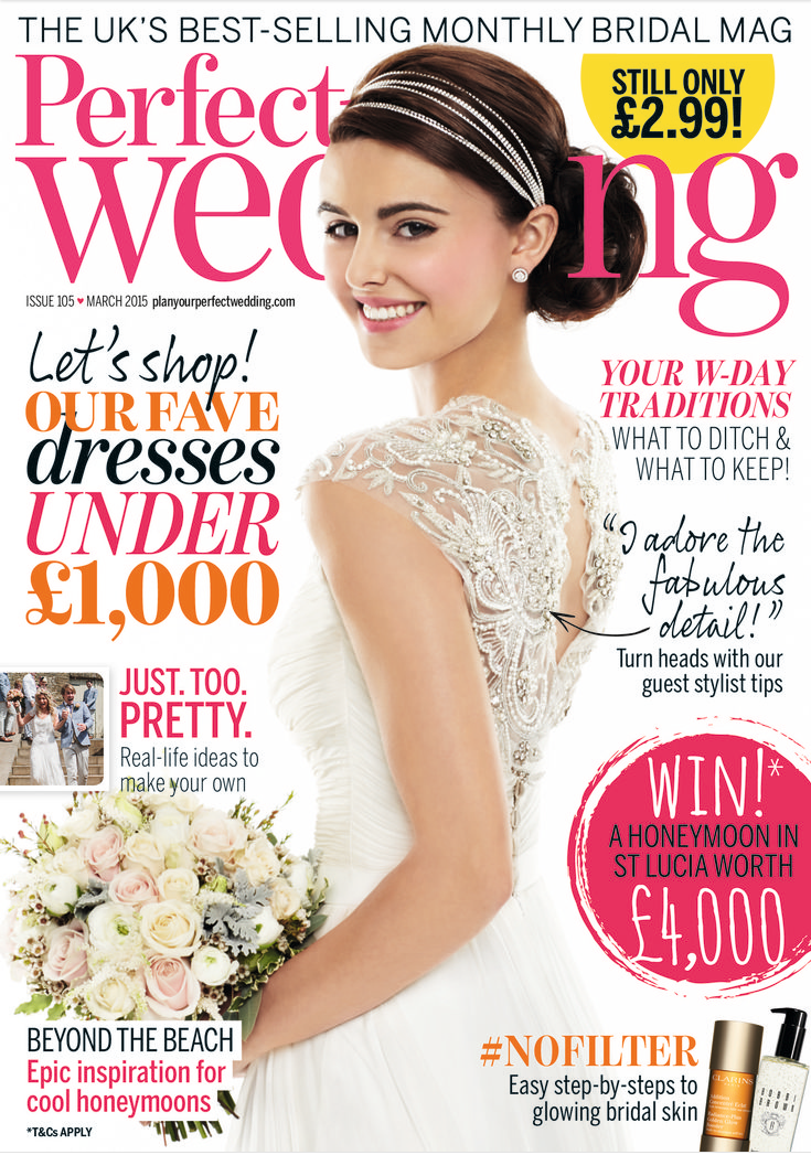Perfect Wedding Magaqzine Cover March 2017 Cherish Gown From Novello Collection By Designer Suzanne
