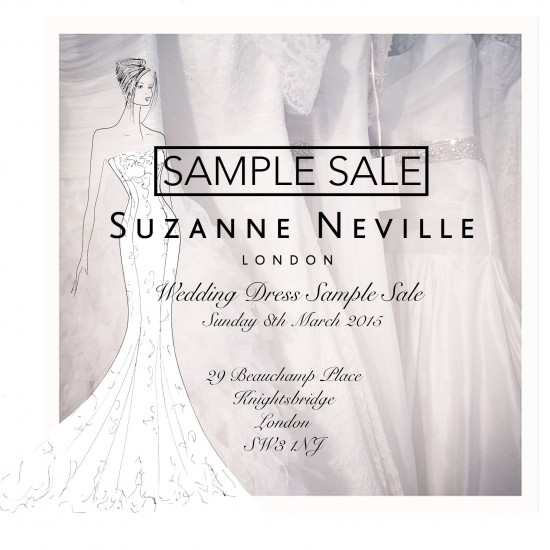 wedding dresses sample sale 2015 by designer Suzanne Neville