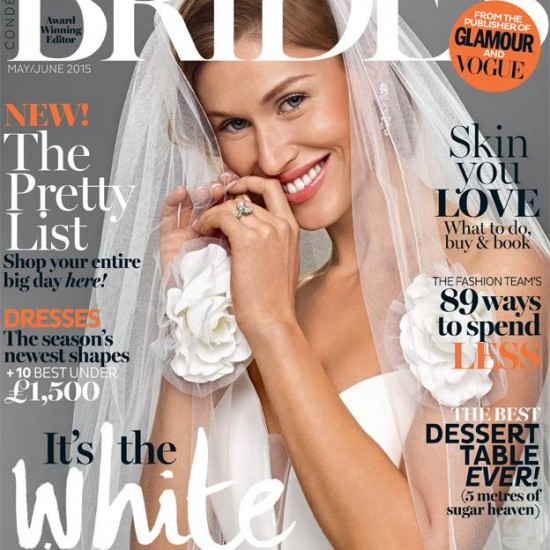 Brides Magazine May : June 2015 issue featuring designer suzanne neville
