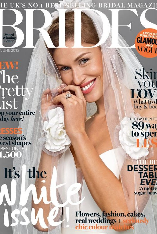 Brides Magazine May : June 2015 issue featuring designer suzanne neville