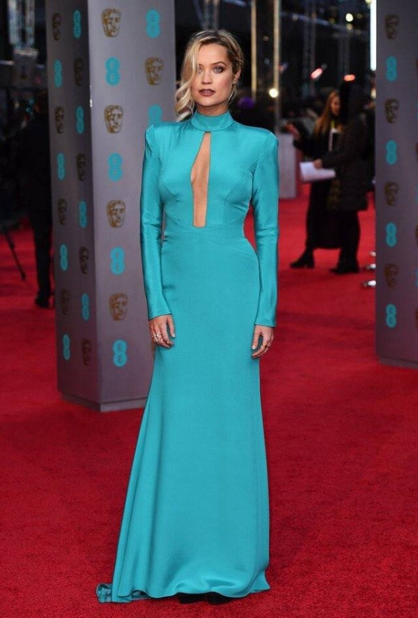 Laura Whitmore wearing Suzanne Neville dress to BAFTAs 2016
