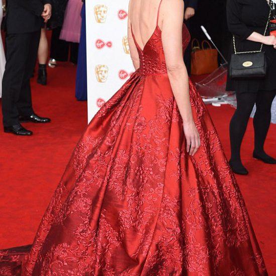 Suranne Jones   BAFTAs 2017   Red Dress by designer Suzanne Neville