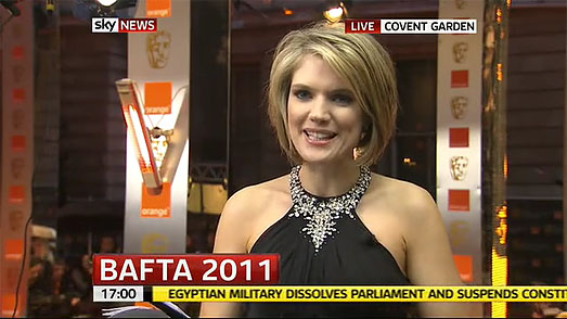 Sky News Charlotte Hawkins BAFTAs Suzanne Neville Black Dress
