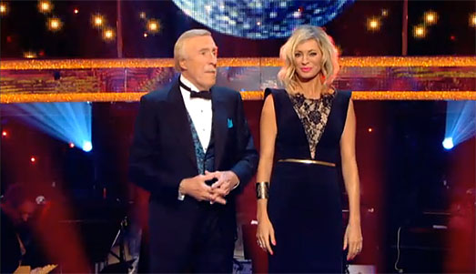 Tess Daly on Strictly Come Dancing wearing designer dress by Suzanne Neville