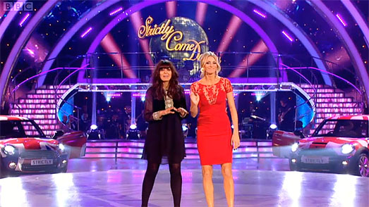 Tess Daly in designer dress by Suzanne Neville on Strictly Come Dancing 2011