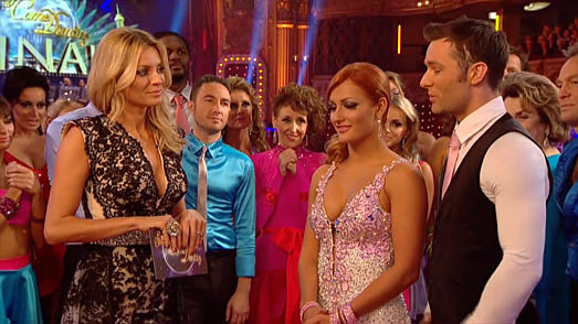 Tess Daly on BBC Strictly Come Dancing Grand Final in designer dress by Suzanne Neville