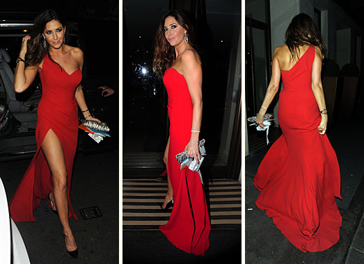 Lisa Snowdon on her 40th birthday in London wearing a red dress by Suzanne Neville