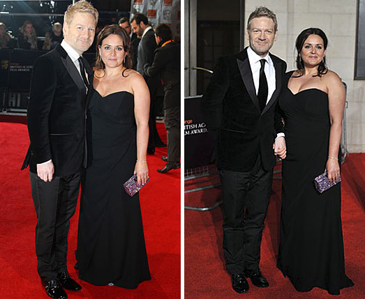 Kenneth Branagh's wife Lindsay Brunnock wearing a black dress by Suzanne Neville at BAFTAs 2012