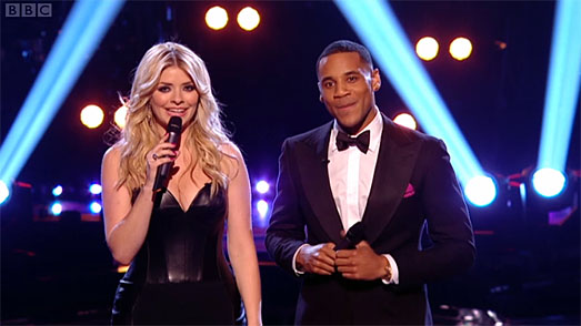 Holly Willoughby   The Voice Finals   black leather dress by Suzanne Neville