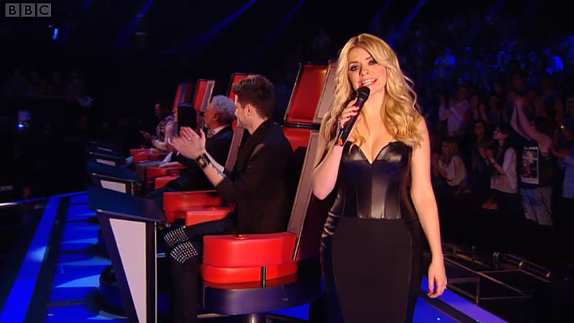 Holly Willoughby | The Voice Finals | black leather dress by Suzanne Neville