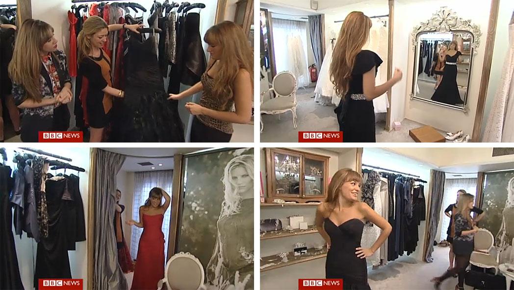 Nicola Benedetti wearing black designer dress by Suzanne Neville