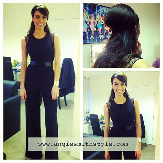 Christine Bleakley | Dancing on Ice 2013 | black jumpsuit by Suzanne Neville