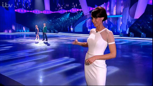 Christine Bleakley | Dancing on Ice 2013 | designer white dress by Suzanne Neville