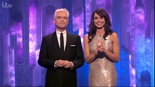 Christine Bleakley | Dancing on Ice Finals 2013 | gold designer dress by Suzanne Neville