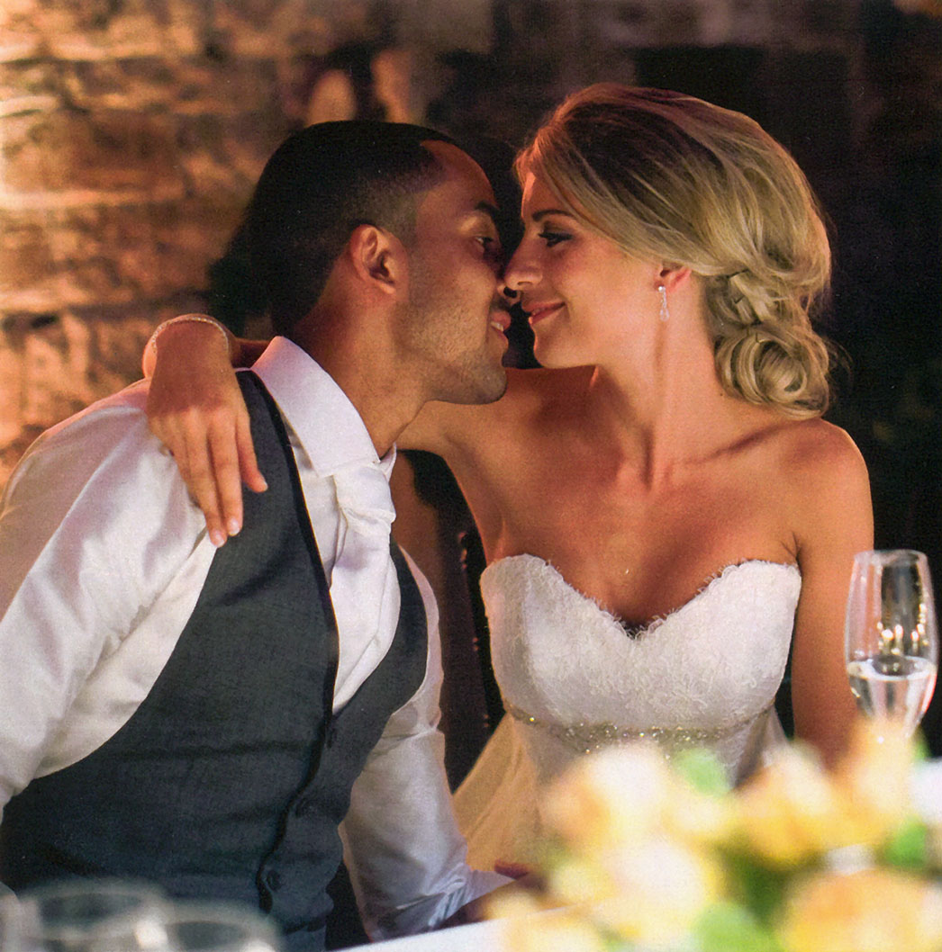 Hello Magazine - Theo Walcott and Melanie Slade - designer wedding dresses by Suzanne Neville