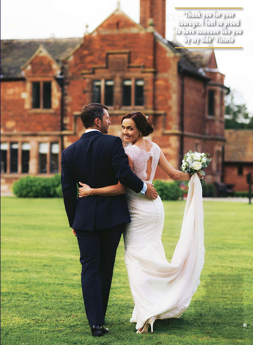 Victoria Pendleton in designer wedding dress by Suzanne Neville