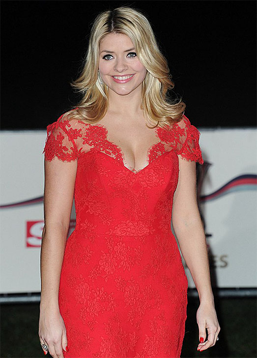 Holly Willoughby wearing designer red dress by Suzanne Neville
