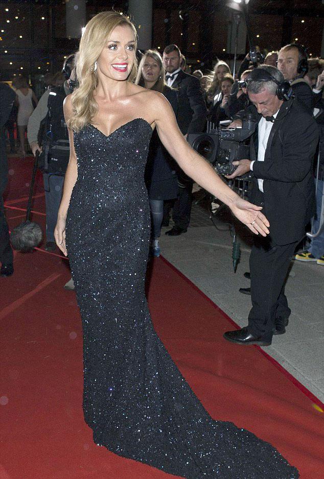Katherine Jenkins at Welsh BAFTAs in black sparkling dress by Suzanne Neville