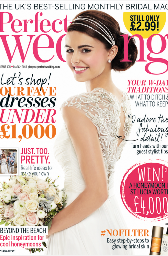 Perfect wedding magaqzine cover March 2015. Cherish gown from 2015 novello collection by designer suzanne neville 2