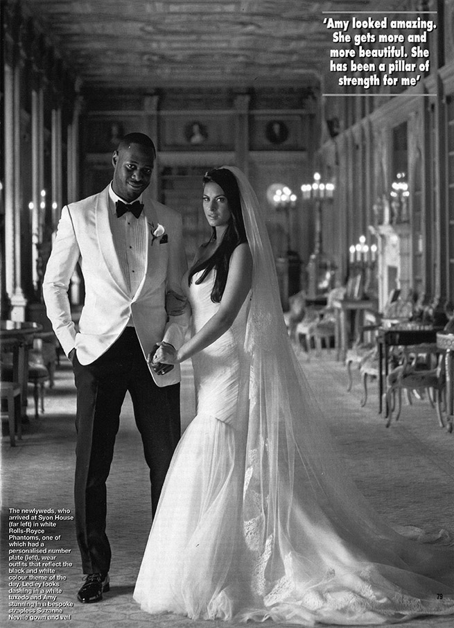 Amy Kavanagh Married Ledley King wearing bespoke Suzanne Neville gown. She looked breathtakingly beautiful for their Stately Home wedding. Featuring in this weeks issue of Hello Magazine.