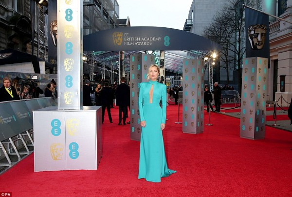 Laura Whitmore wears designer suzanne neville to the baftas 2016