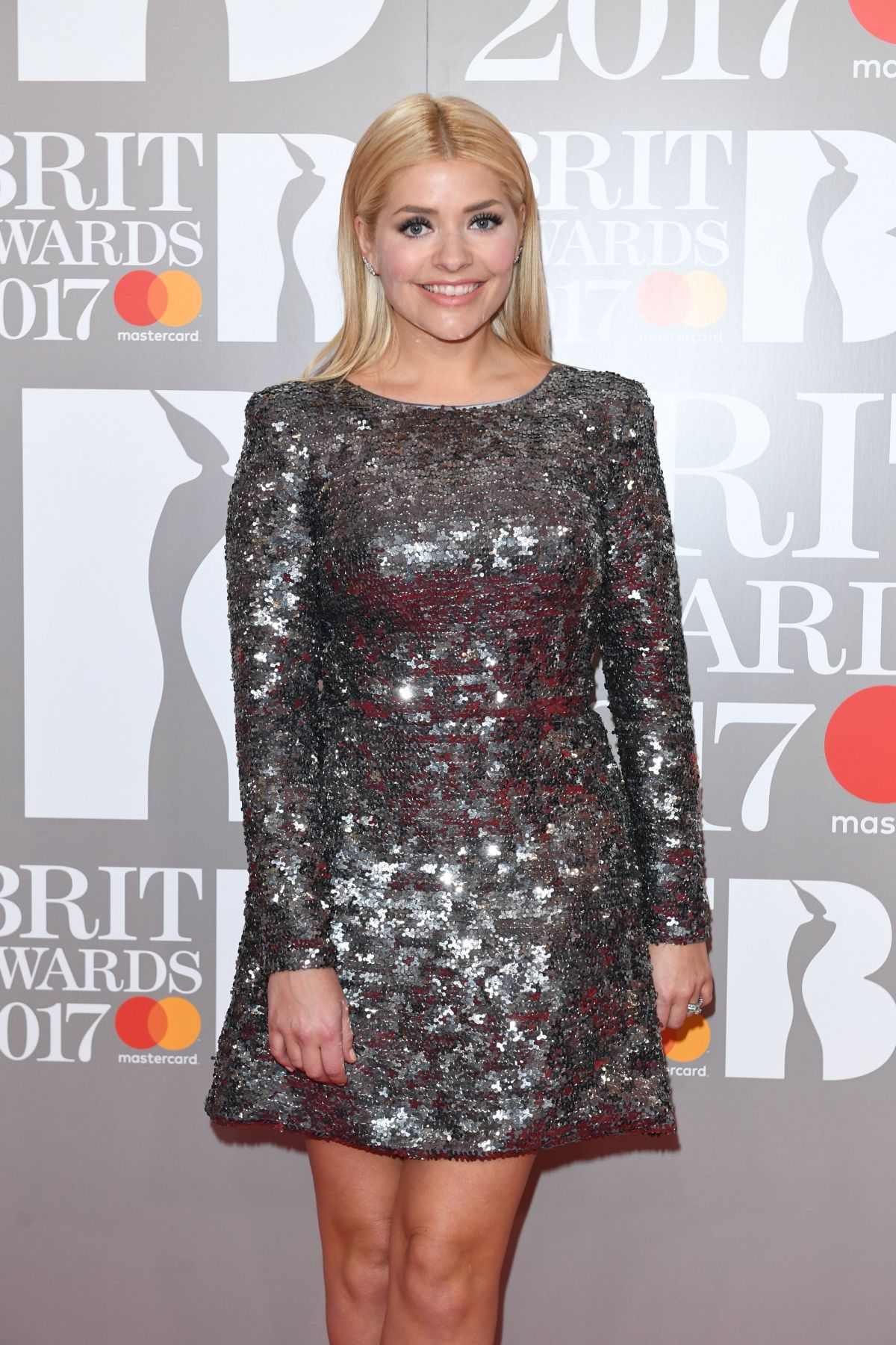 Holly Willoughby | Brit Awards 2017 | Silver Sequin Dress by Suzanne Neville