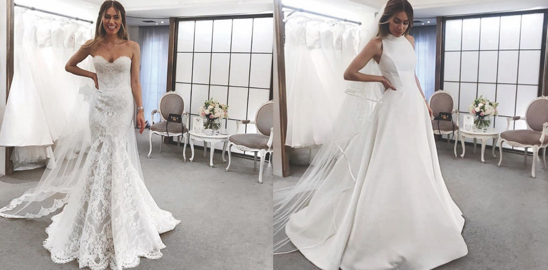 Lydia Elise Millen blogger views bridal gowns by Suzanne Neville