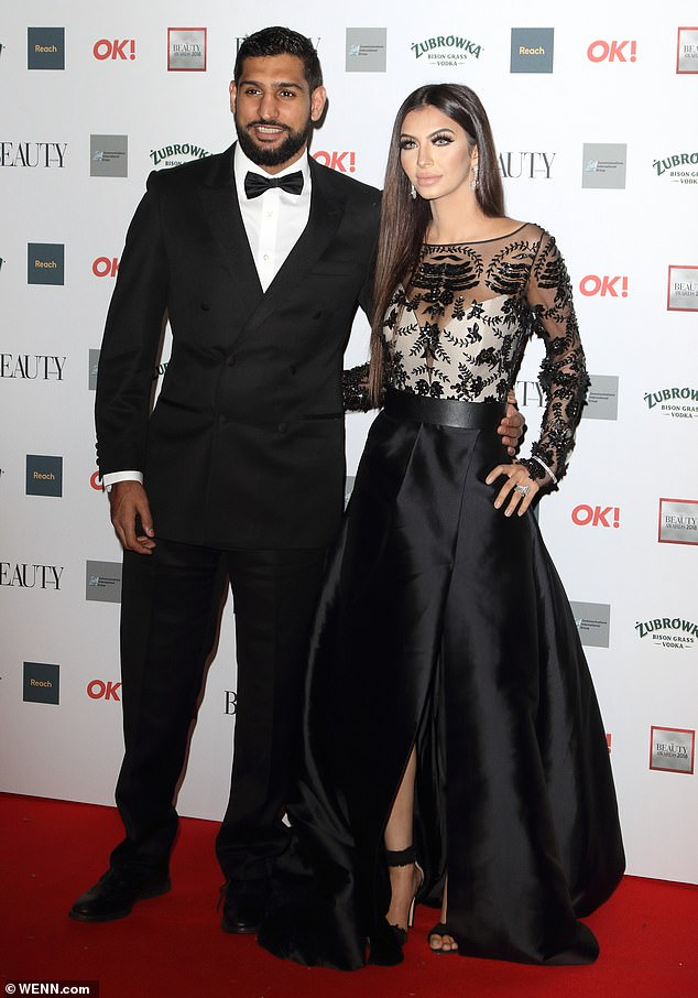 Faryal Makhdoom Khan at OK! Magazine Beauty Awards 2018 wears stunning laser-cut leather black dress 'Savannah' by fashion designer Suzanne Neville