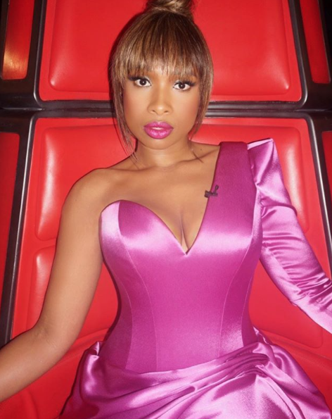 Jennifer Hudson - pink satin dress - The Voice Semi Final 2019