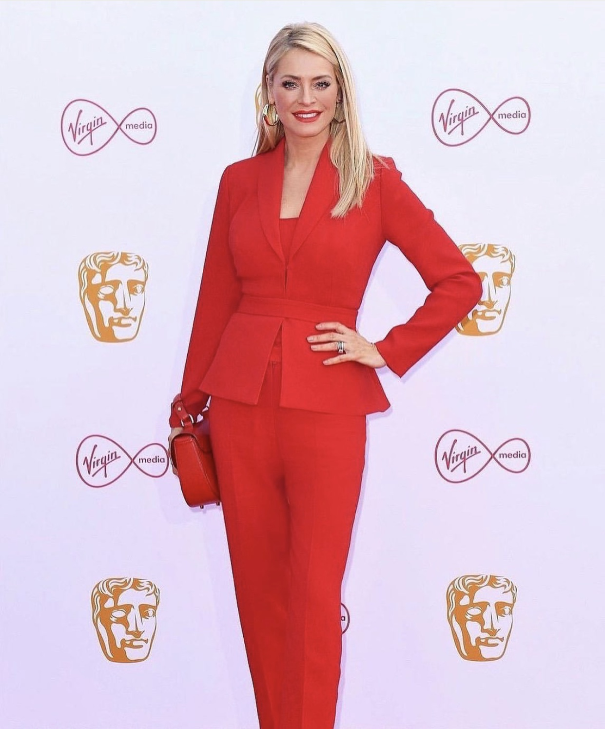 Red Carpet Fashion - Tess Daly in Red Suit - BAFTAs 2019