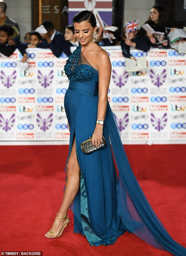 Lucy Mecklenburgh wearing teal dress to the Pride of Britain awards 2019
