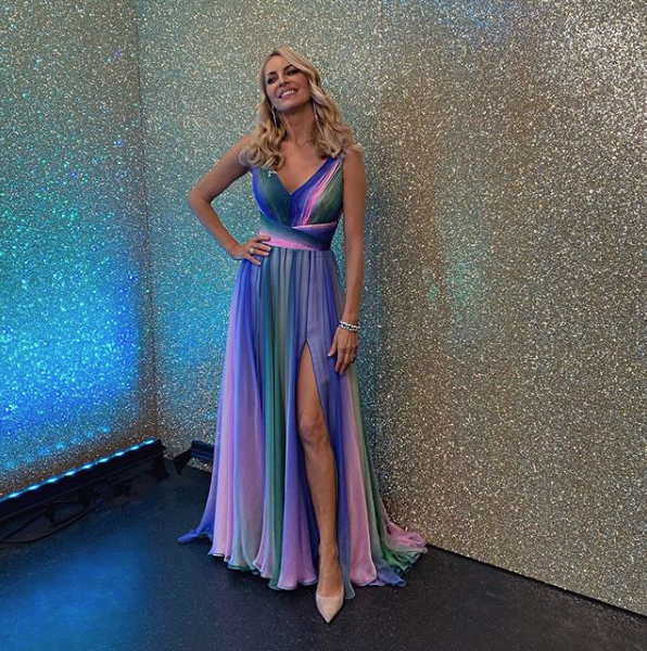 Strictly Come Dancing 2019 - Movie week - Tess Daly multicoloured dress