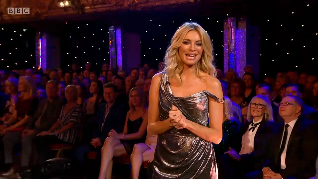Tess Daly - Silver Dress by fashion designer Suzanne Neville
