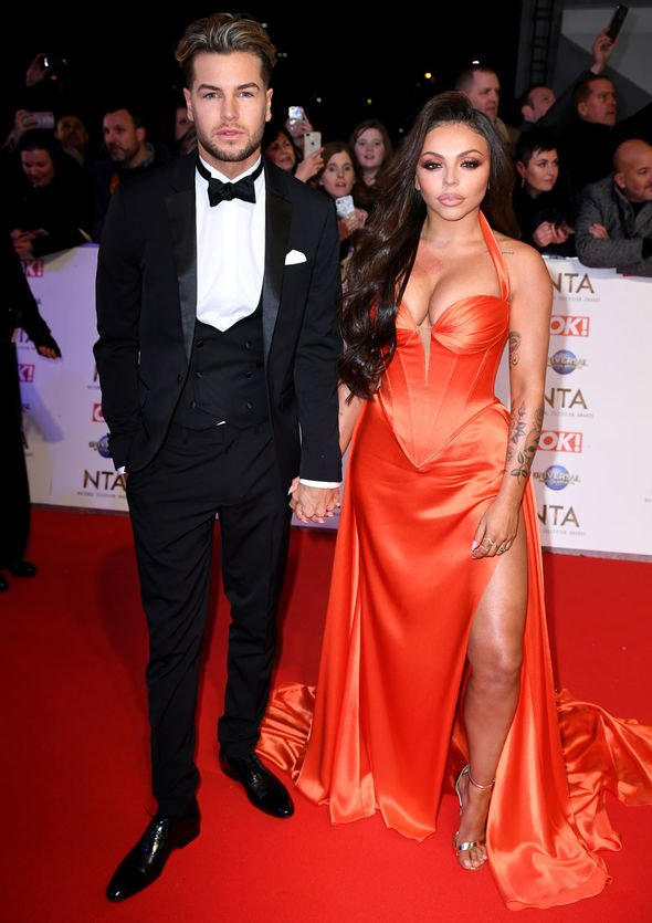 NTA winner Jesy Nelson orange satin dress by designer Suzanne Neville